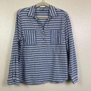 ANNE KLEIN Striped Button Front Tunic with Pockets